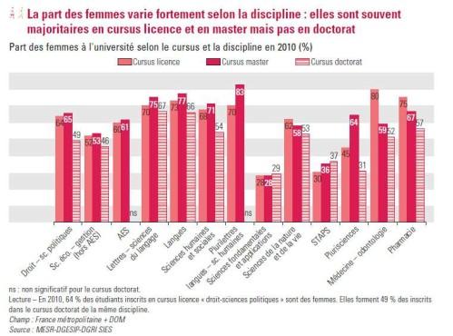 proportion de filles en licence master doctorat garçons