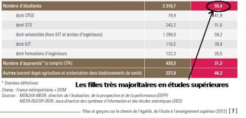 proportion de filles en études supérieures
