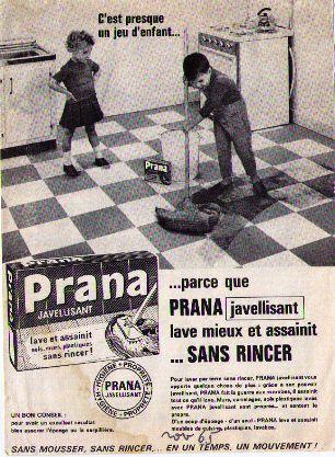 Prana javel publicité fille garçon balaie